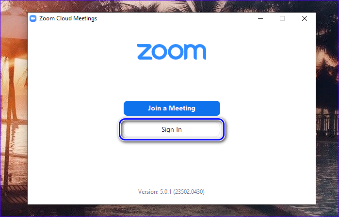 Авторизация в Zoom Cloud Meetings на ПК