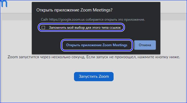 Авторизация в Zoom через браузер