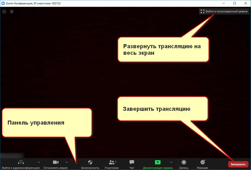 Интерфейс Zoom