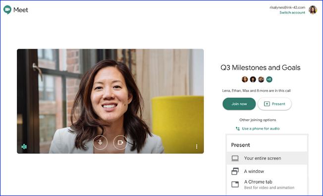 Подключение с разных устройств к Google Meet