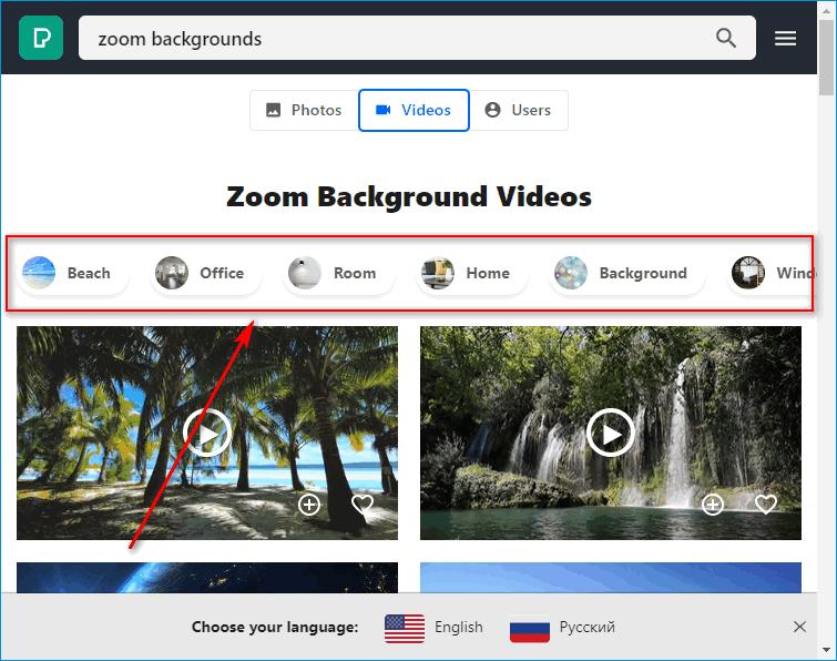 Поиск фона для Zoom в Pexel