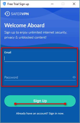 Регистрация в системе Safer VPN