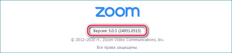 Установленная версия Zoom