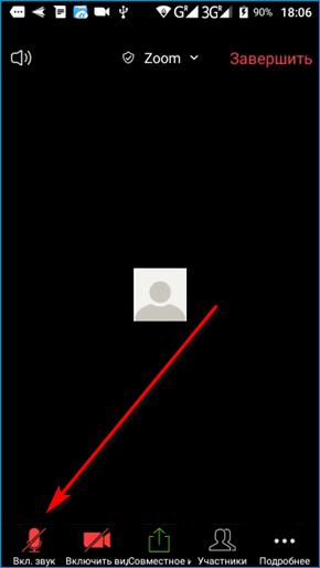 Включение звука в мобильном Zoom