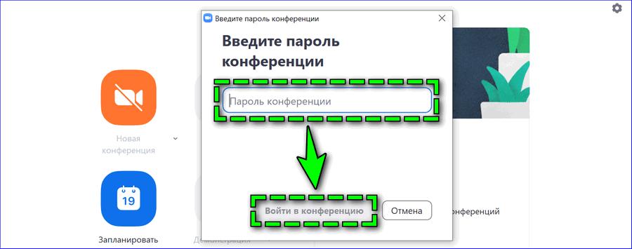 Ввод пароля от Zoom