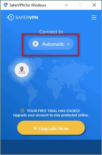 Выбор страны в Safer VPN