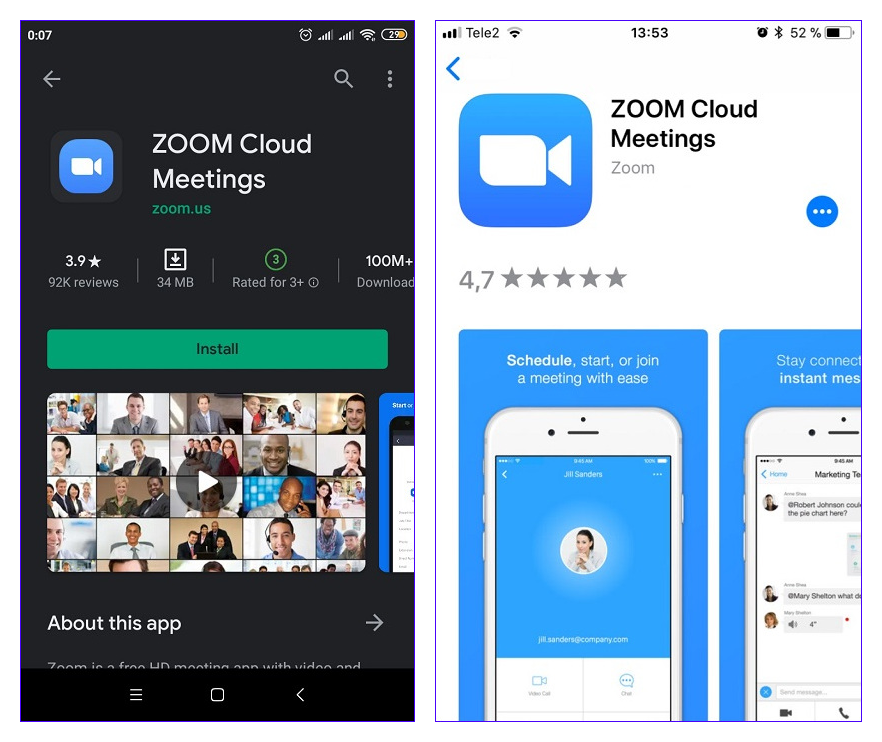 Загрузка Zoom Cloud Meetings для смартфона