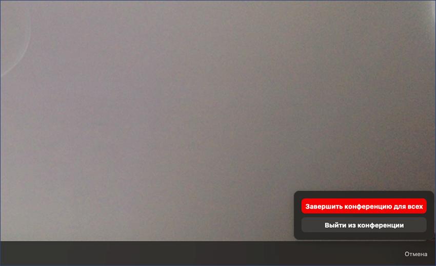 Завершение видеосвязи в Zoom